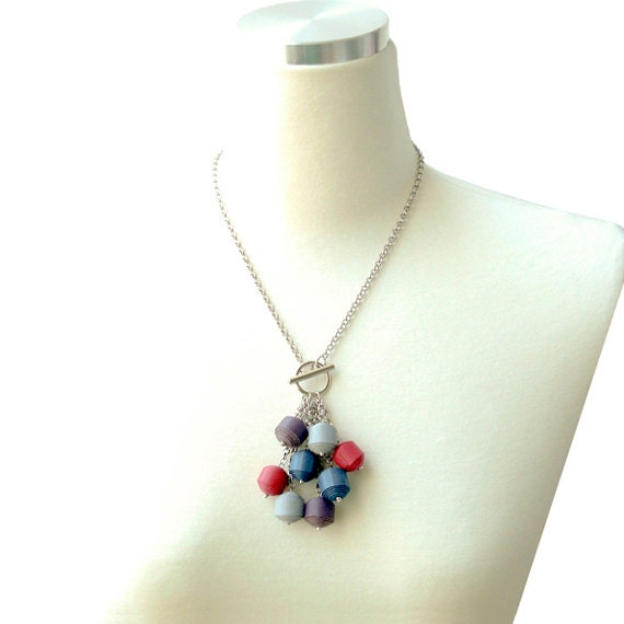 Multicolor Genuine Leather Ball Dangling Necklace