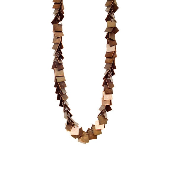 Square Charm Chain Necklace - Copper