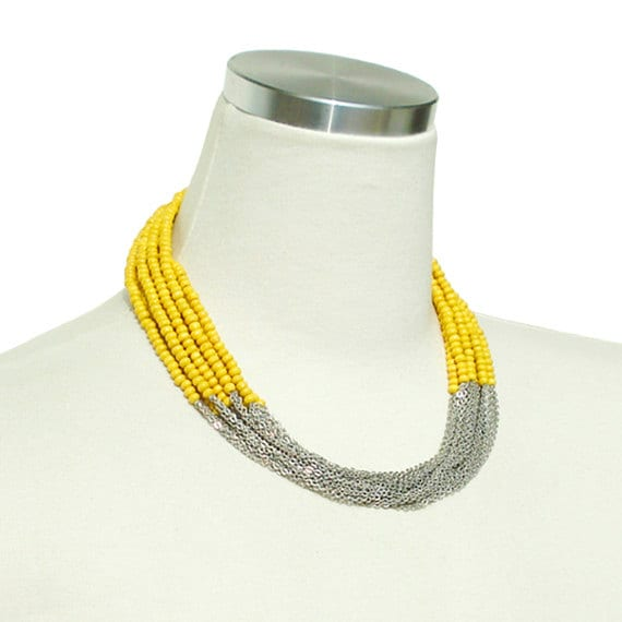 Boho Chic Necklace - Yellow