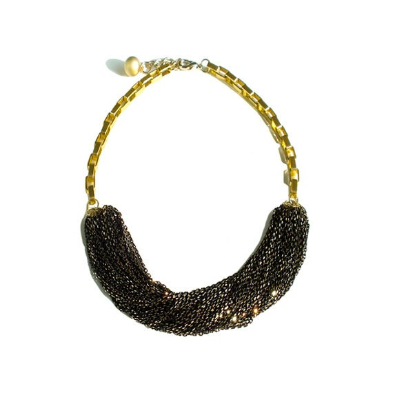 Multi Strand Chic Statement Chain Necklace - Black