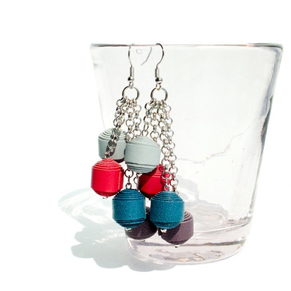 Multicolor Genuine Leather Ball Dangling Earring