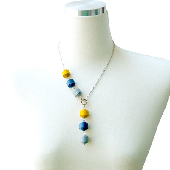 Genuine Leather Ball Necklace - Yellow/Teal