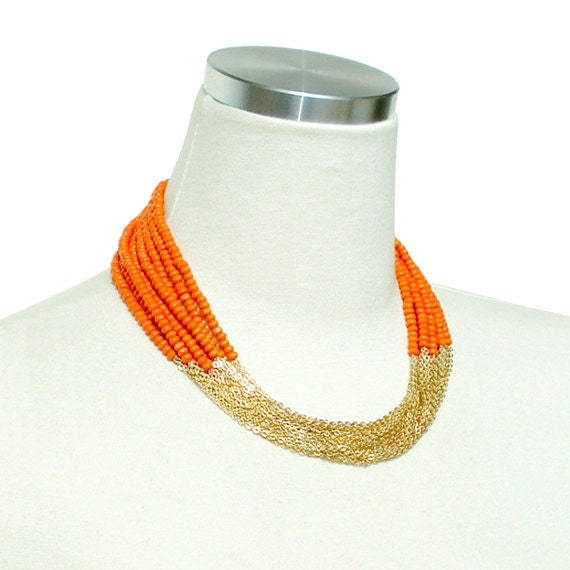 Boho Chic Necklace - Orange