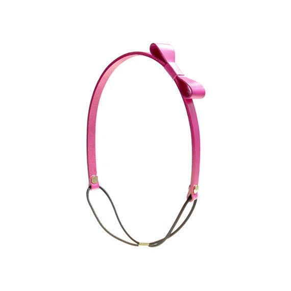 Genuine Leather Bow Headband - Pink