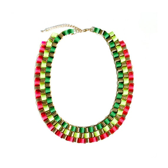 Color Block Box Chain Necklace - Multi