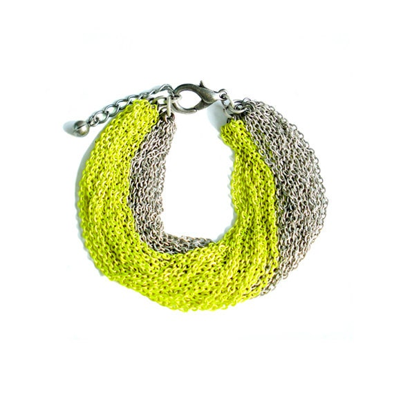 Multi Strand Chain Bracelet - Neon Yellow