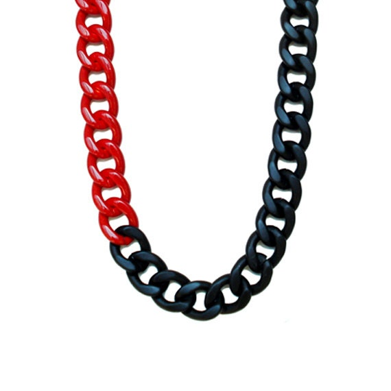 Color Block Chunky Chain Long Necklace - Red