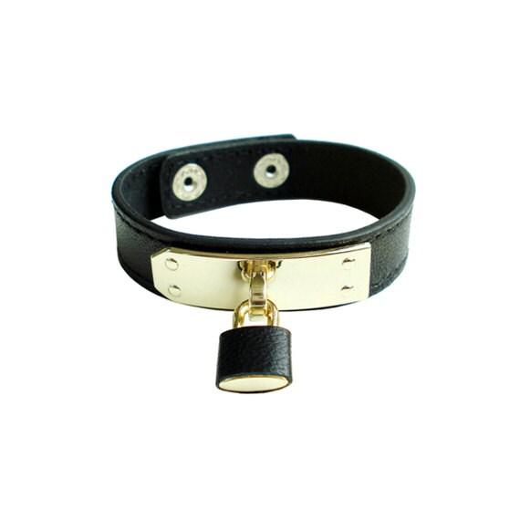 Genuine Leather Lock Bracelet - Black