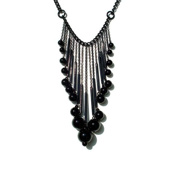 Bubble Drop Statement Necklace - Black
