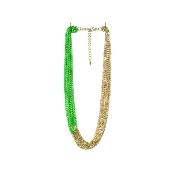 Multi Strand Chain Necklace - Neon Green