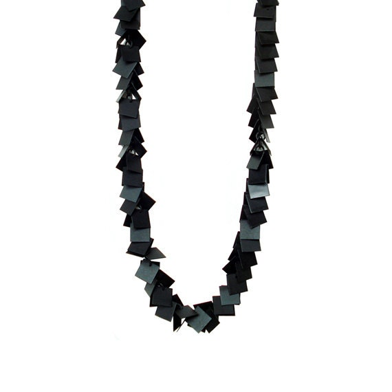 Square Charm Chain Necklace - Black