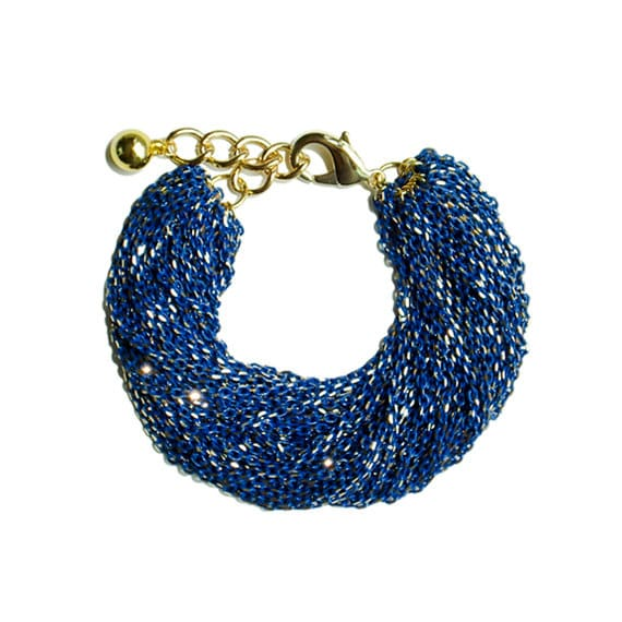 Multi Strand Chic Statement Chain Bracelet - Blue