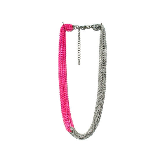Multi Strand Chain Necklace - Neon Pink