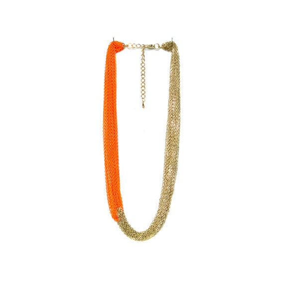 Multi Strand Chain Necklace - Neon Orange