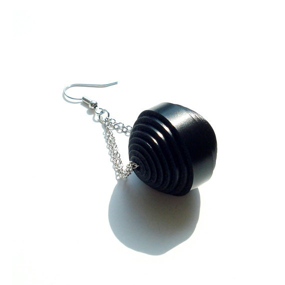 Genuine Leather Ball Earring