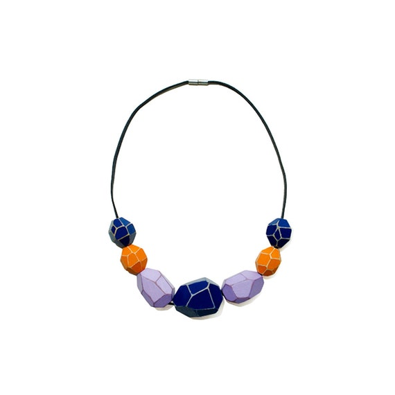 Wooden Gem Beads Necklace - Blue