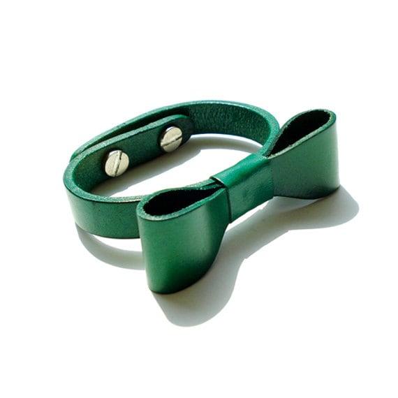 Genuine Leather Bow Bracelet - Green