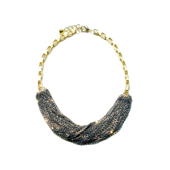 Multi Strand Chic Statement Chain Necklace - Gray