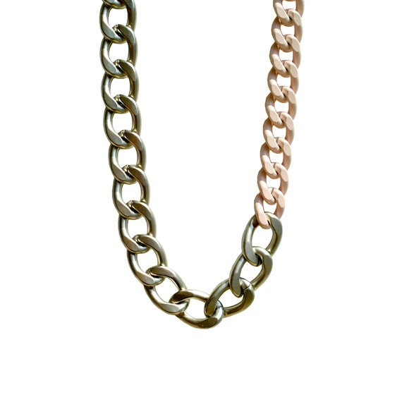 Color Block Chunky Chain Necklace - Powder Pink