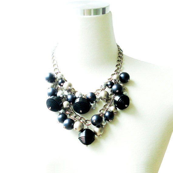 Chunky Bib Necklace With Genuine Leather Ball