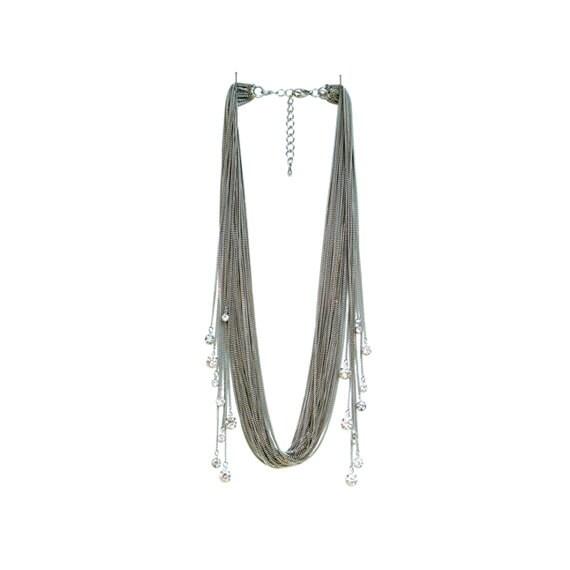 Rhinestone Sway Necklace - White Gold
