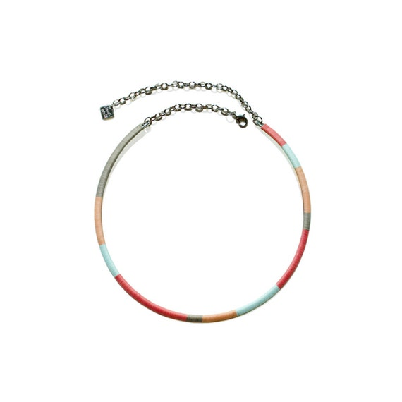 Color Block Hoop Necklace - Pastel