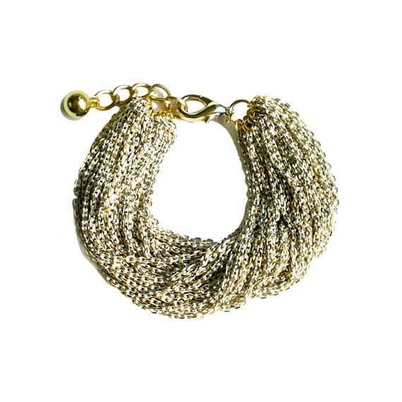 Multi Strand Chic Statement Chain Bracelet - Ivory