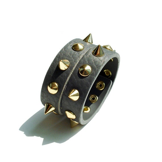 Genuine Leather Cuff With Spikes - Gray