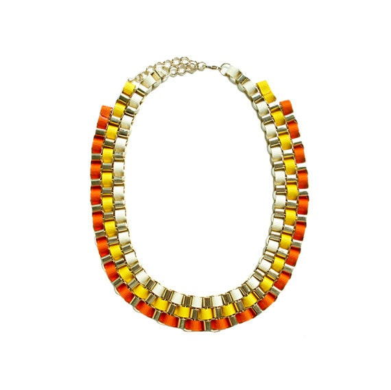 Color Block Box Chain Necklace - Orange