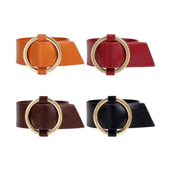 Round Buckle Leather Bracelet