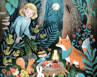 Woodland Fairies Magical Forest Harvest Feast Illustration- Art Print