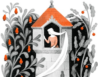 Illustration of Princess  Rapunzel in her Tower from the Brothers Grimm Fairy Tales- Art Print