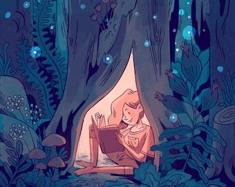 June's Refuge in Spillsville's Magical Forest- Art Print