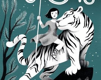 The Queen of Cats Riding a Tiger Illustration