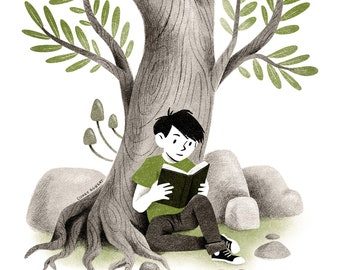 The Boy and his Reading Tree Illustration