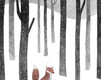 Lone Fox in the Snow- Art Print