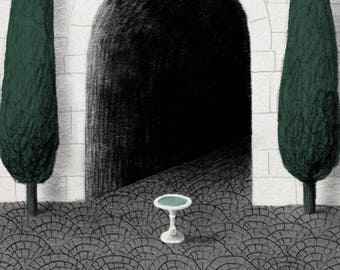 Fountain in the Garden Illustration Print