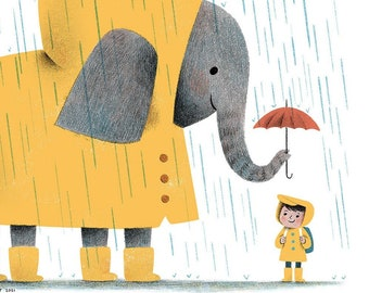 Summer Rain Magic, Puddles and a Cute Elephant Illustration- Art Print