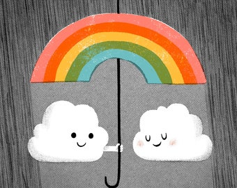 Cozy Clouds Under the Rainbow Umbrella Art Print