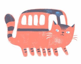The Magical Cat Bus Fan Art- Art Print