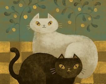 Cat Friends Folk Art- Art Print