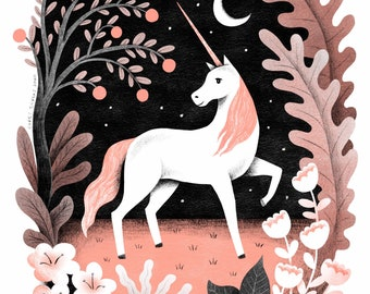 Majestic Unicorn Illustration Art Print