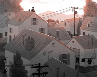 Suburban Rooftops at Sunrise- Art Print