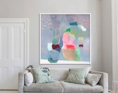 giclée print, ABSTRACT print of original painting, limited edition, blue, green, pink , 'Ephemeral #3'