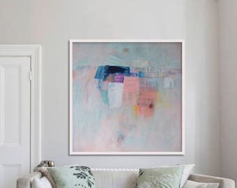 """gicleé print, ABSTRACT print of original painting, blue, grey pink, white, """"Embellish #16'"""