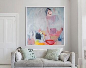 "ABSTRACT art, Giclée print, grey, blue, red,""Magic Carpet"""