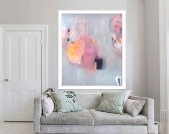 """print of original painting, giclée print, abstract, pink, blue, """"Lead Lined Diamond 2"""""""