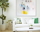 "ABSTRACT PRINT of original painting, Giclée print, white, yellow, blue, "" F Stop a Lot"""