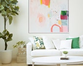 """LARGE abstract, giclée print, abstract print, white, pink, yellow, green, """"Hidden Snapshot"""""""