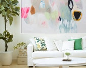 "Large white, beige and light green abstract Giclée PRINT of painting, original modern print, expressionist print of painting ""Magic Hour"""